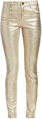 J Brand Maria High-Rise Metallic Coated Skinny Jeans