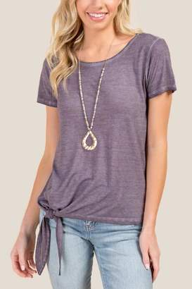 francesca's Esme Side Knot Basic Tee - Vintage Purple