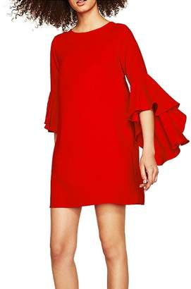 Forest Kiss Women's Crew Neck 3/4 Flare Bell Sleeve Casual Tunic Mini Shift Dress with Keyhole Back XS