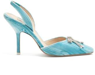 Crystal Bow Velvet Slingback Pumps - Womens - Light Blue