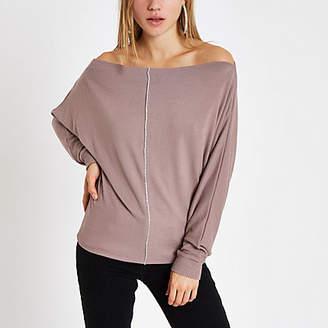 River Island Brown rhinestone bardot batwing sleeve sweater