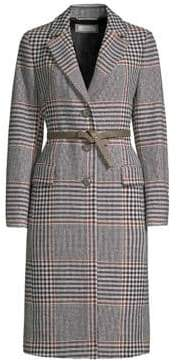 Peserico Check Coat With Leather Belt