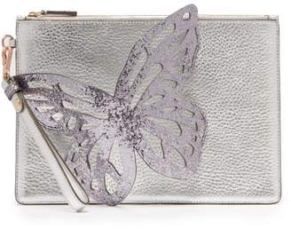 Sophia Webster Flossy Butterfly Leather Clutch - Womens - Silver