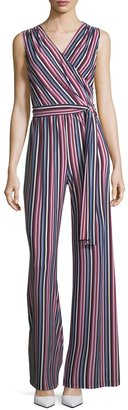 Donna Morgan Surplice Sleeveless Striped Wide-Leg Jumpsuit $99 thestylecure.com