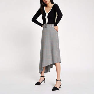 River Island Womens Grey check asymmetric hem midi skirt
