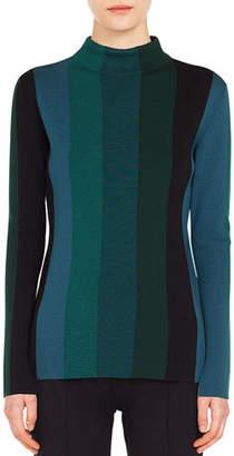 Akris Punto Turtleneck Slit Long-Sleeve Striped Wool Knit Top