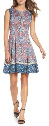 Maggy London Print Scuba Fit & Flare Dress