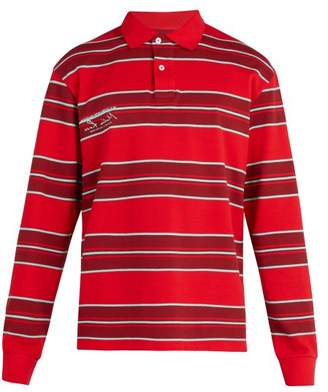 Martine Rose Striped Long Sleeved Polo Shirt - Mens - Red Multi