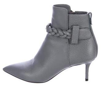 Valentino Leather Braided Ankle Boots