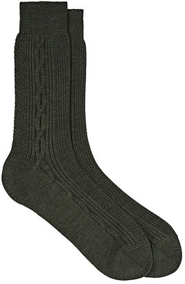 Barneys New York Men's Cable-Knit Mid-Calf Socks $35 thestylecure.com