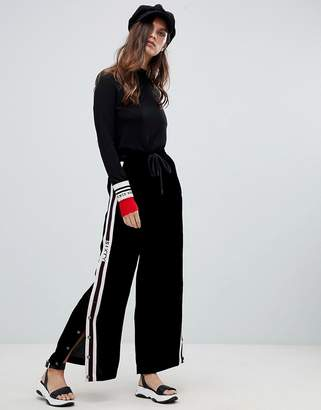 Miss Sixty wide leg pants with popper and seam detail