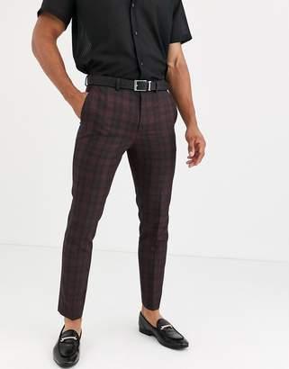 Burton Menswear skinny fit suit trousers in red tartan check