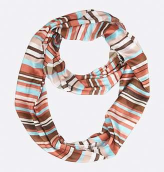 Avenue Plus Size Silk Aqua And Earth Tone Stripes Infinity Scarf