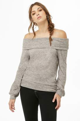 Forever 21 AnM Marled Off-the-Shoulder Top