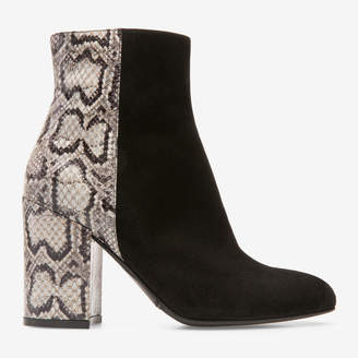 Bally Bowler Black, Women's kid suede and ayers snake skin ankle boot with 85mm heel in black