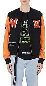 Off-White MEN'S EAGLE TEMP LEATHER VARSITY JACKET-BLACK SIZE XS