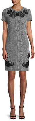 Karl Lagerfeld PARIS Embroidered Tweed Dress