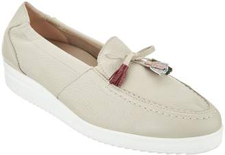 Vitaform Leather Low Wedge Loafers with Tassel