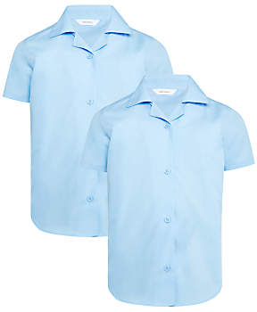 John Lewis & Partners Girls' Easy Care Open Neck Short Sleeve School Blouse, Pack of 2, Blue