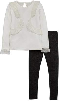 Very Frill Top With Sparkle Legging Set