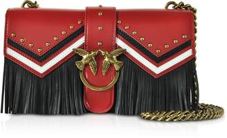 Pinko Love Tricolor Leather Fringed Shoulder Bag
