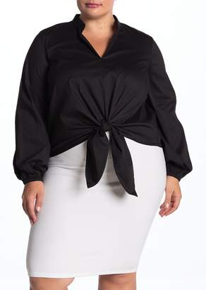 ELOQUII Puff Sleeve Tie Front Top (Plus Size)