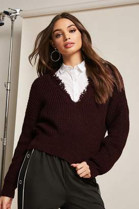Forever 21 Ribbed Knit Distressed Sweater