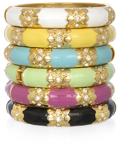 Sequin Triple Rhinestone and Gold Enamel Bangles, Assorted Colors