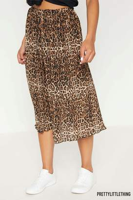 Next Womens PrettyLittleThing Leopard Print Pleated Midi Skirt