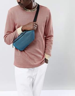 Asos Design Bum Bag In Blue Mesh