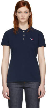 MAISON KITSUNÉ Navy Tricolor Fox Patch Polo
