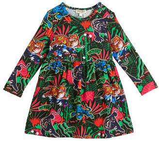 Kenzo Jungle-Print Long-Sleeve Velour Dress, Size 2-3