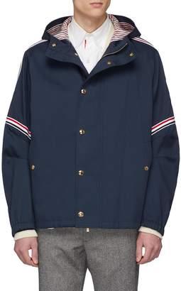 Thom Browne Stripe sleeve hooded twill jacket