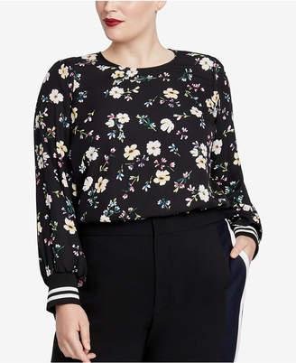 Rachel Roy Trendy Plus Size Knit-Cuff Blouse