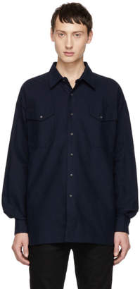 Kozaburo Navy Flannel Boxy Fit Shirt