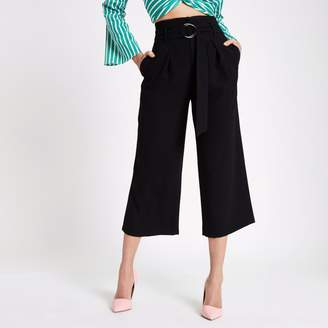 River Island Womens Black ring tie belted culottes