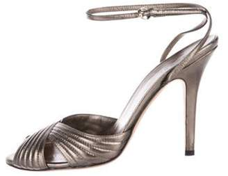 Gucci Leather Ankle Strap Sandals Silver Leather Ankle Strap Sandals
