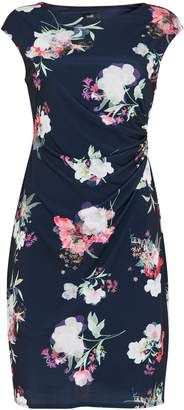 WallisWallis TALL Navy Floral Print Ruched Shift Dress