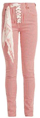 Rockins - Lace Up High Rise Jeans - Womens - Red Stripe