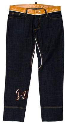 DSQUARED2 Leather-Trimmed Skinny Jeans