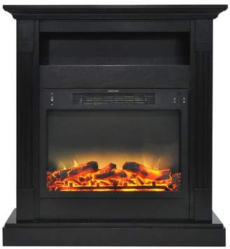 Cambridge Silversmiths Sienna 34 Electric Fireplace With Enhanced Log Display and Black Coffee Mantel