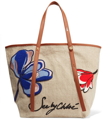 See by Chloé - Andy Leather-trimmed Appliquéd Canvas Tote - Beige $195 thestylecure.com
