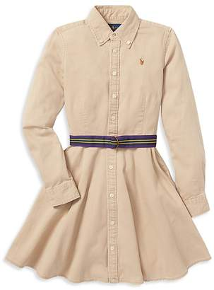 Polo Ralph Lauren Girls' Chino Shirt Dress with Belt - Big Kid