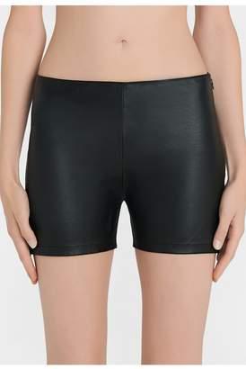 La Perla La Perla | Leather Black Lambskin Leather Shorts | M | Black