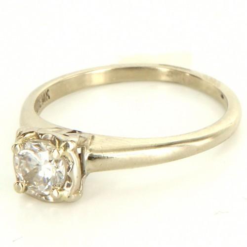 575 Denim very good (VG) Vintage 14K White Gold Diamond Engagement Ring - Size