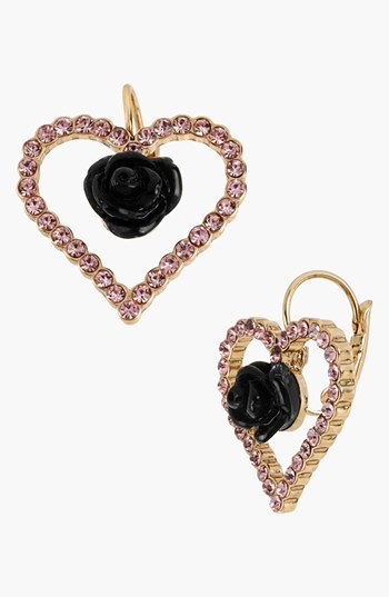 Betsey Johnson 'Paris' Open Heart Drop Earrings