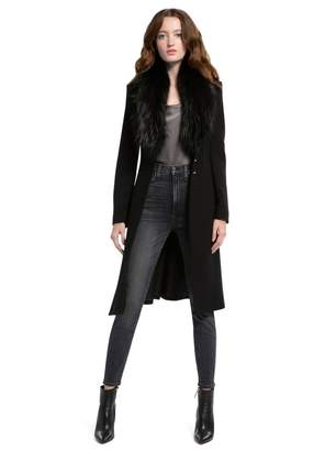Alice + Olivia Vance Flare Coat With Fur Collar