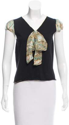 Anna Sui Bow-Accented Short Sleeve Top