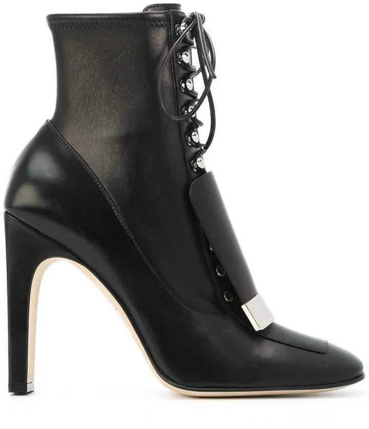 Sergio Rossi lace-up square toe boots
