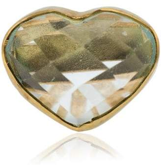 Jessie Western 18k yellow gold aquamarine heart stud earring